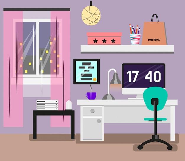 Interno camera da letto in design piatto Vettore Premium