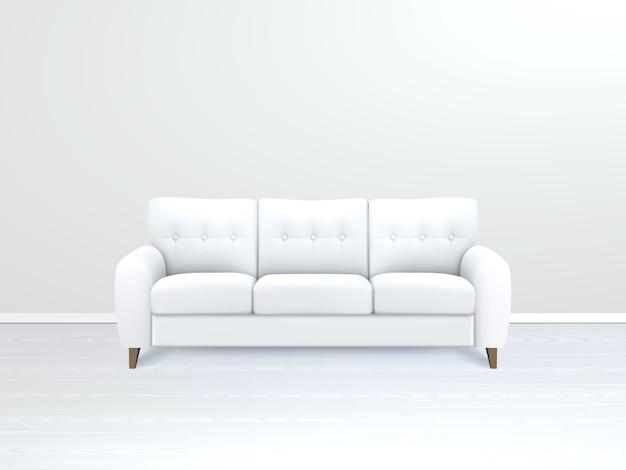Interno con illustrazione del divano in pelle bianca Vettore gratuito
