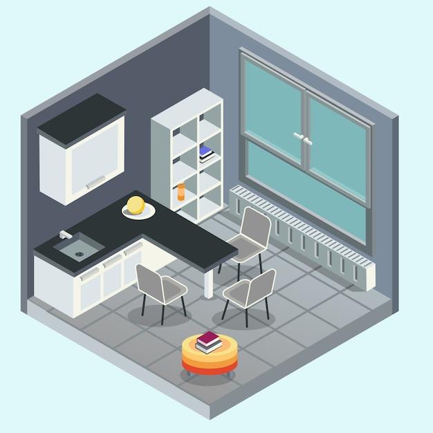 Interno cucina moderna. illustrazione piana isometrica concettuale 3d. vettore isolato Vettore Premium