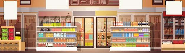 Interno del centro commerciale del grande supermercato del grande negozio Vettore Premium