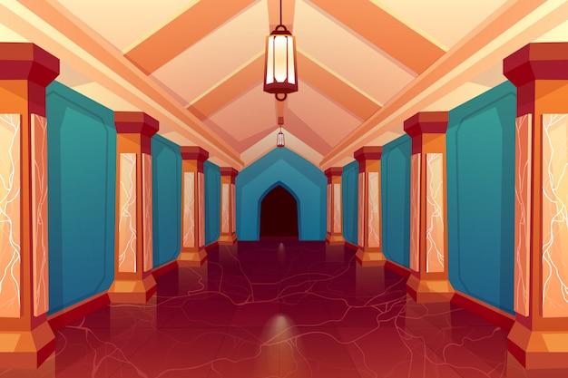 Interno del corridoio colonna vuota del castello Vettore gratuito