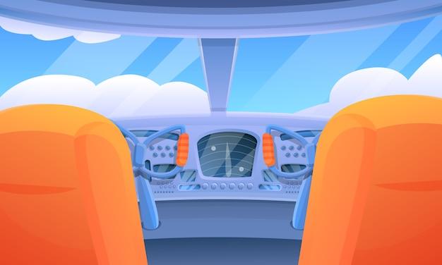 Interno del fumetto di una cabina di pilotaggio dell'aeroplano di volo, illustrazione di vettore Vettore Premium