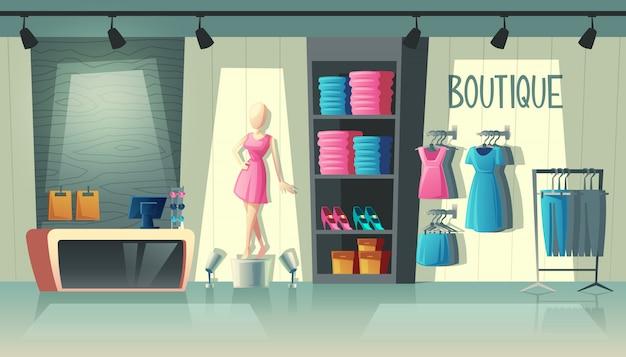 Interno del negozio di abbigliamento - guardaroba con abiti da donna, manichino di cartone animato e roba sui ganci Vettore gratuito