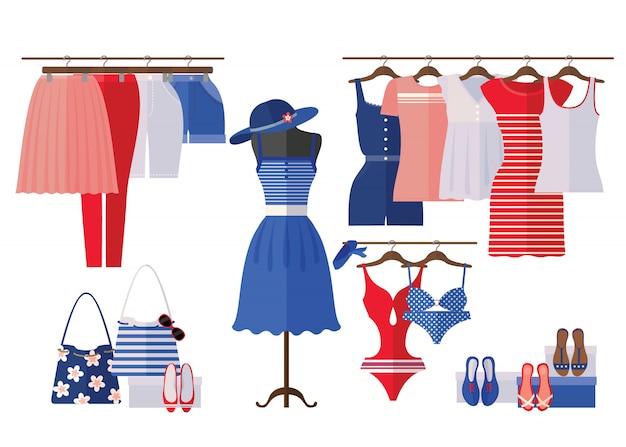 Interno del negozio di vestiti delle donne con i vestiti di estate nello stile piano isolati su bianco. Vettore Premium