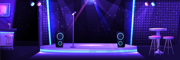 Interno del night club con un palco e un microfono per il karaoke Vettore Premium