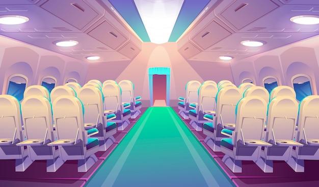 Interno dell'aeroplano vuoto con sedie Vettore gratuito
