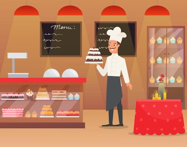 Interno dell'illustrazione del forno con il panettiere dell'uomo che tiene il dolce della tenuta del carattere. Vettore Premium