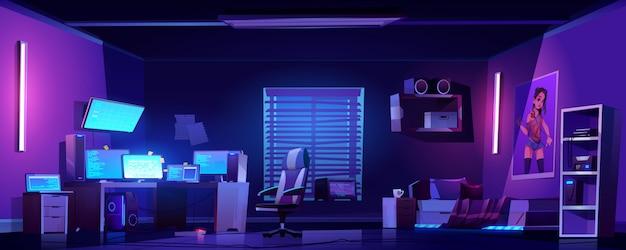 Interno della camera da letto del ragazzo dell'adolescente, computer sullo scrittorio Vettore gratuito