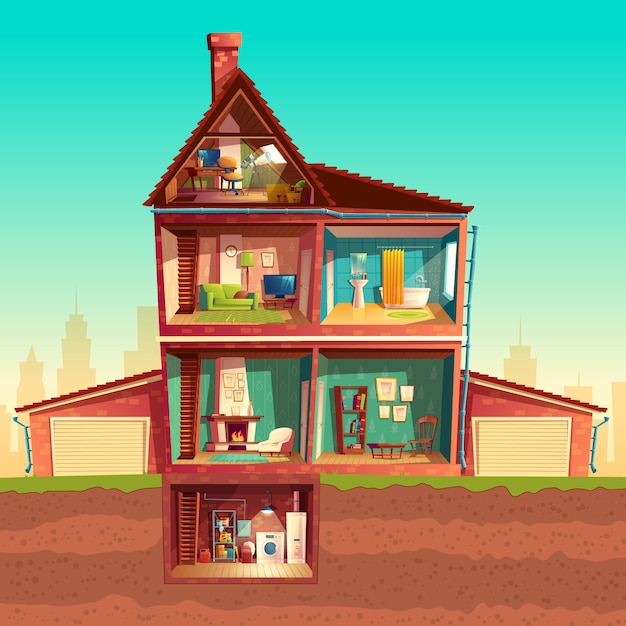 Interno della casa a tre piani in sezione trasversale con for Interno della casa