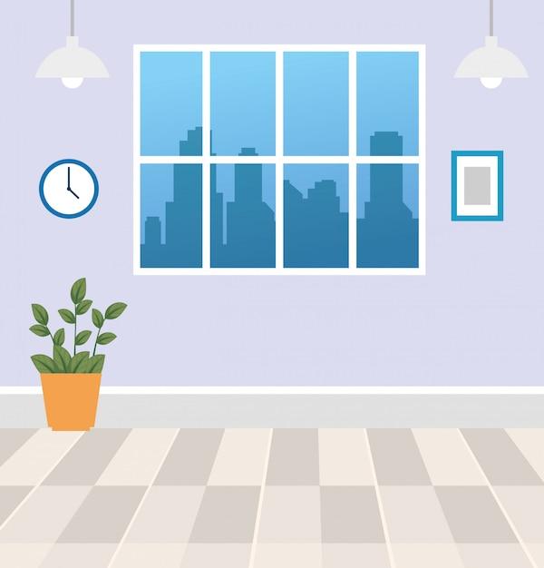 Interno della casa di scena con progettazione dell'illustrazione della decorazione Vettore gratuito