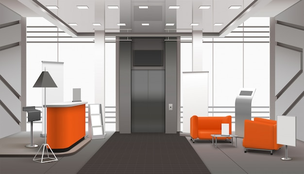 Interno della hall realistico Vettore gratuito