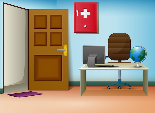Interno della sala di consultazione dei medici in clinica Vettore Premium