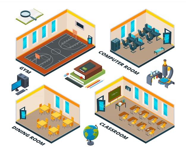 Interno della scuola isometrica. costruire con varie classi di istituto o scuola Vettore Premium