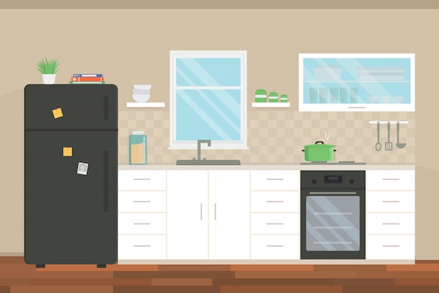 Interno di cucina moderna con mobili ed elettrodomestici. Vettore Premium