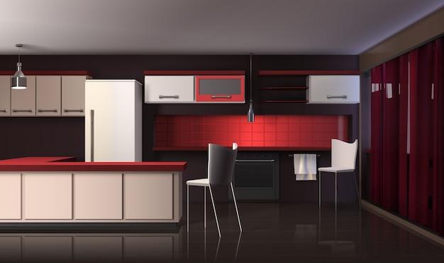 Interno di cucina moderna di lusso Vettore gratuito