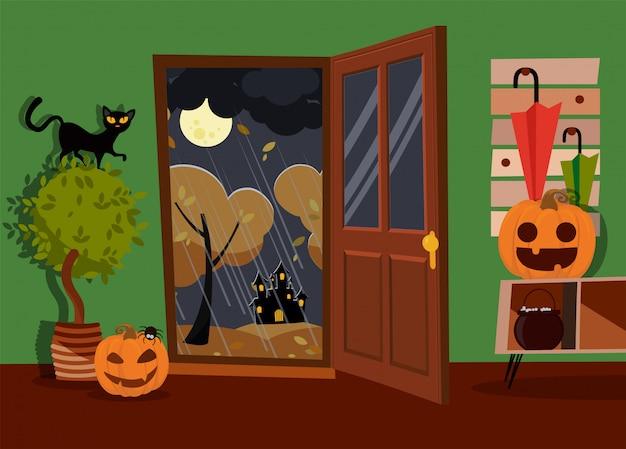 Interno di halloween del corridoio decorato con i volti, la caldaia e il ragno delle zucche con la porta aperta alla via. gatto nero sulla pianta domestica. paesaggio lunare, alberi gialli, pioggia. illustrazione di vettore del fumetto piatto Vettore Premium