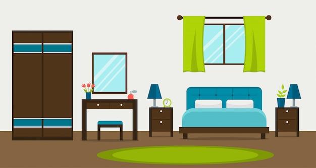 Interno di una camera da letto moderna con finestra, armadio, toletta e specchio. illustrazione vettoriale stile piano Vettore Premium