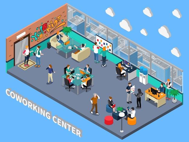 Interno isometrico del centro di coworking Vettore gratuito