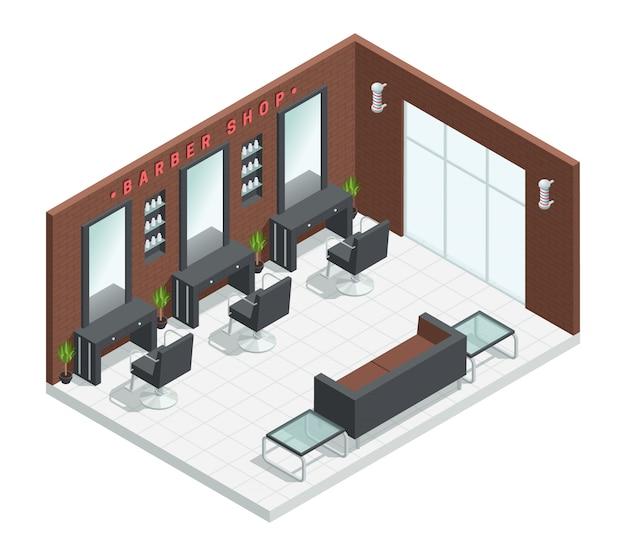Interno isometrico del salone del negozio di barbiere con gli specchi della composizione nella stanza dello studio Vettore gratuito