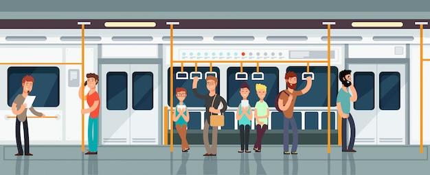 Interno moderno della carrozza ferroviaria della metropolitana con la gente Vettore Premium