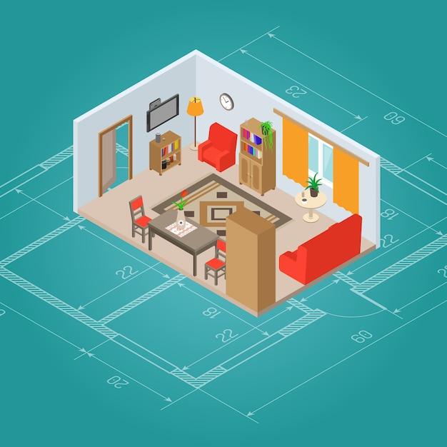 Interno soggiorno isometrica Vettore gratuito