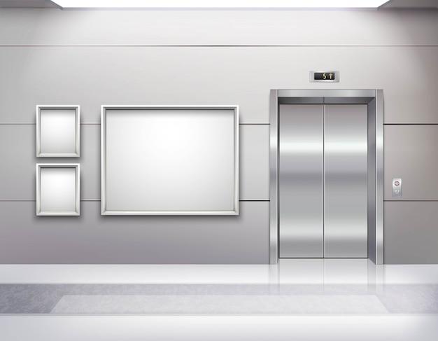 Interno vuoto realistico della sala dell'ascensore Vettore gratuito