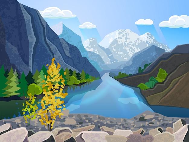 Intervallo di montagna di estate della carta da parati del paesaggio di qualità con il fiume e l'albero dorato Vettore gratuito