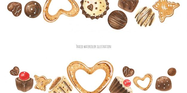 Intestazione caramelle di cioccolato Vettore Premium