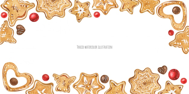 Intestazione di biscotti allo zenzero Vettore Premium