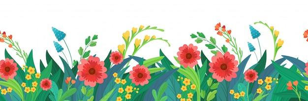 Intestazione di fiori senza soluzione di continuità Vettore Premium