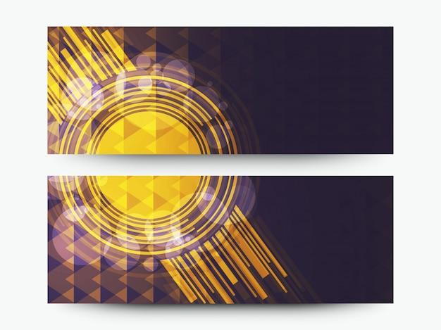 Intestazioni o banner pubblicitari creativi impostati con elementi astratti geometrici hi tech. Vettore gratuito