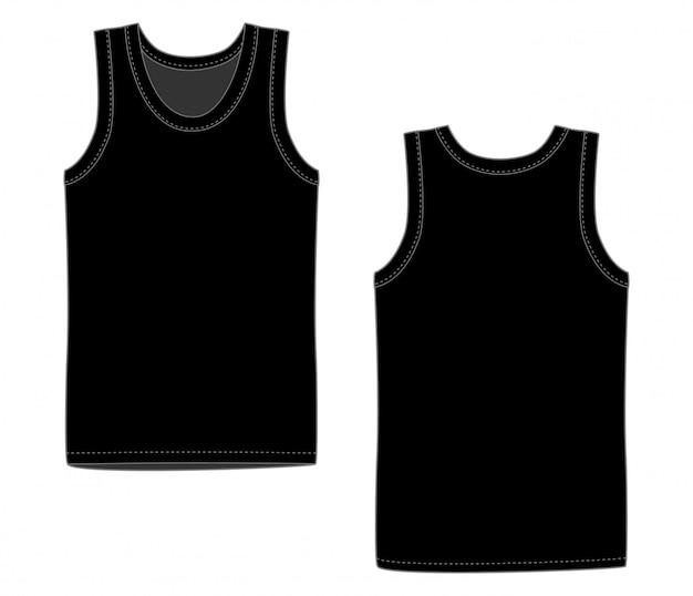 Intimo uomo gilet nero. canotta bianca davanti e dietro. camicie sportive isolate maschili senza maniche o abbigliamento da uomo. t-shirt bianca Vettore Premium