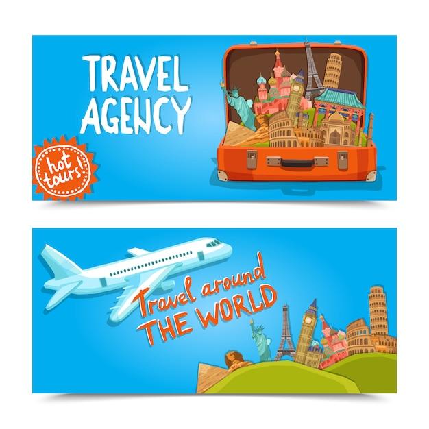 Intorno al mondo le insegne orizzontali dell'agenzia di viaggi Vettore gratuito