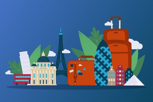 Intraprendi un viaggio attraverso l'europa pittoresca, illustrazione. famosi edifici di paesi, grattacielo di cetriolino, torre eiffel. Vettore Premium