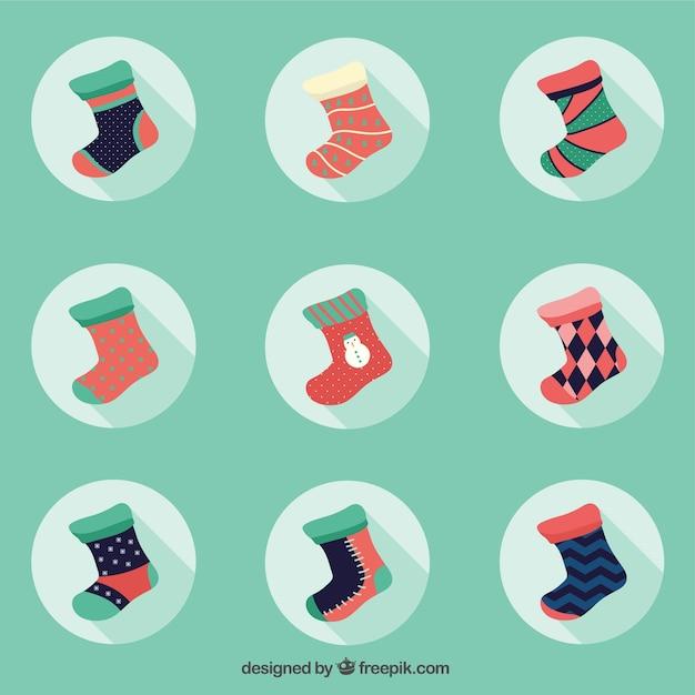 Inverno calze piatto collection Vettore gratuito