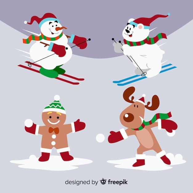 Inverno divertente collezione di personaggi natalizi Vettore gratuito