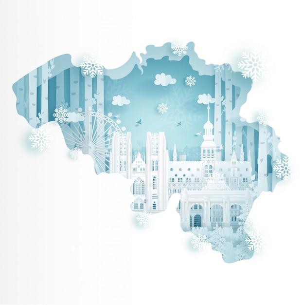 Inverno in belgio per il concetto di pubblicità di viaggi e tour Vettore Premium