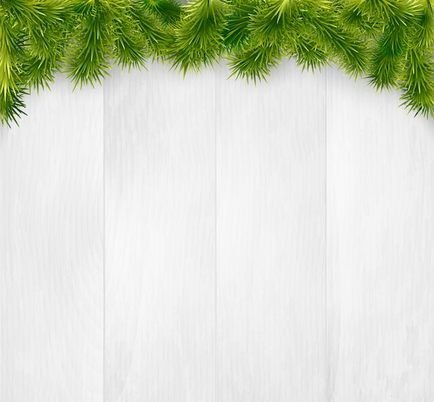 Inverno natale in legno con rami di abete Vettore Premium