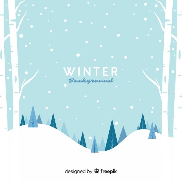 Inverno nevoso paesaggio sfondo Vettore gratuito