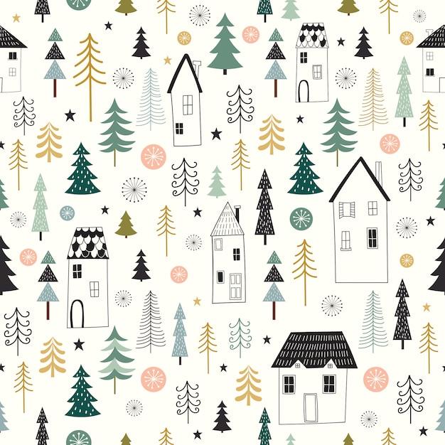 Inverno seamless con decorativo, design seasonel Vettore Premium