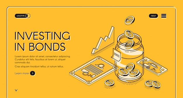 Investendo nella pagina di destinazione isometrica delle obbligazioni, le monete da un dollaro cadono in un barattolo con documenti e grafici di investimento in giro, il fondo di investimento aumenta il denaro finanziando il business Vettore gratuito