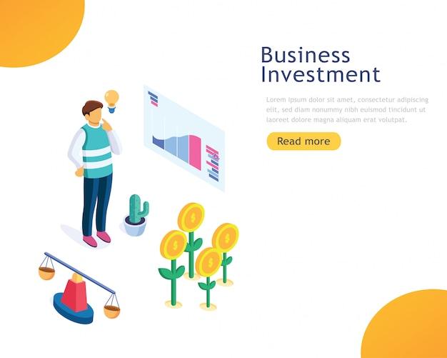 Investimento aziendale modello di progettazione Vettore Premium