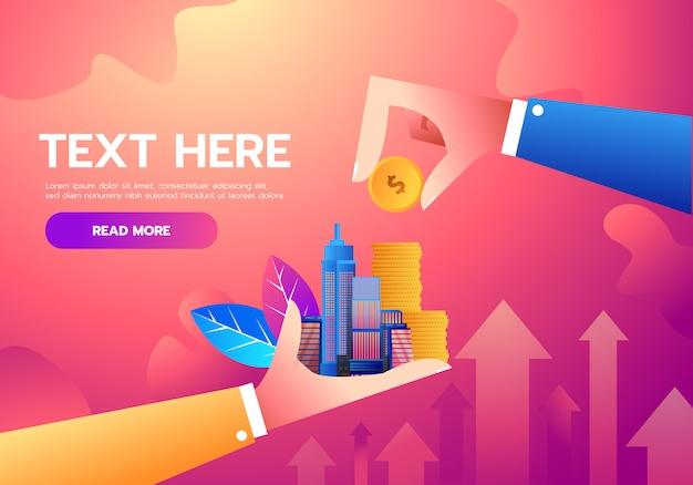 Investimento e finanza concetto di crescita aziendale Vettore Premium