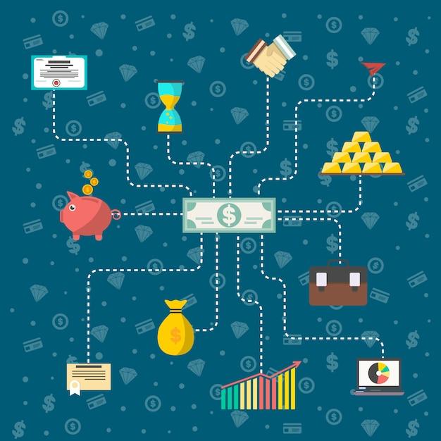 Investimento nel concetto di infografica titoli Vettore Premium
