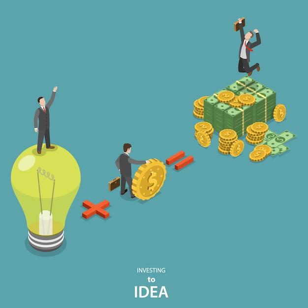 Investire nel concetto di vettore piatto isometrico idea. Vettore Premium