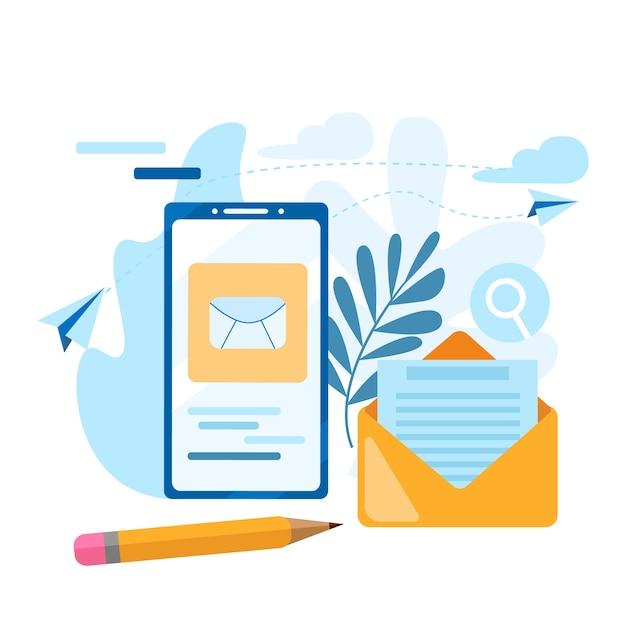 Invia una email. concetto di chiamata, rubrica, taccuino. contattaci icona. Vettore Premium