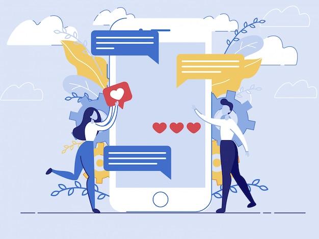 Inviare sms a un amico tramite messenger in smartphone Vettore Premium