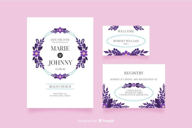 Inviti di nozze in design piatto Vettore gratuito