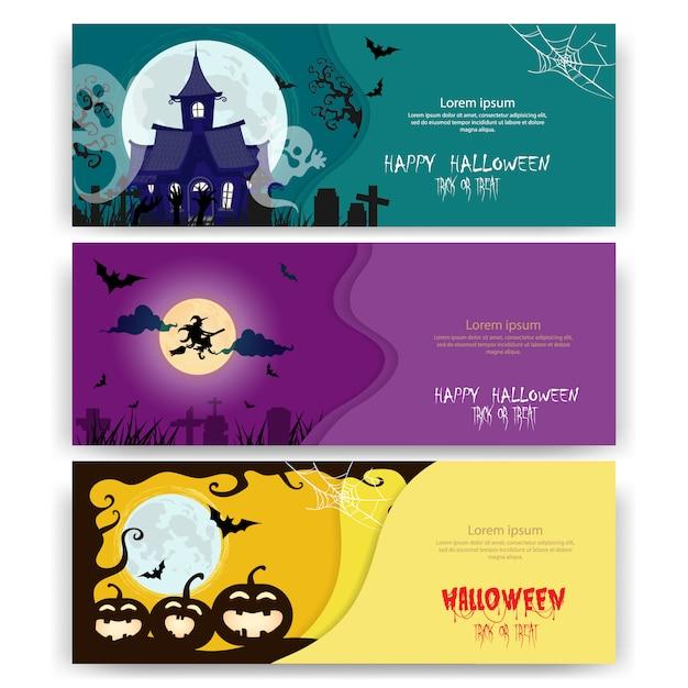 Inviti per feste di halloween o biglietti di auguri Vettore Premium