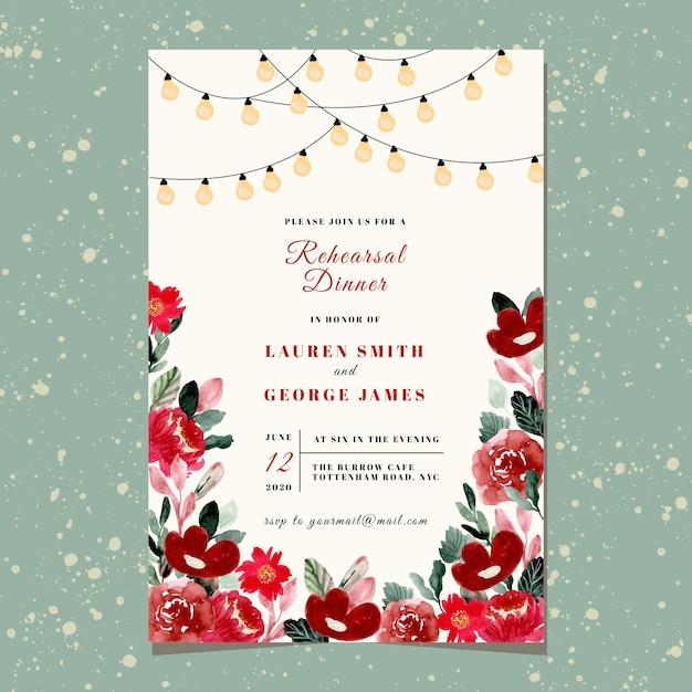 Invito a cena di prova con luce di stringa e acquerello floreale rosso Vettore Premium